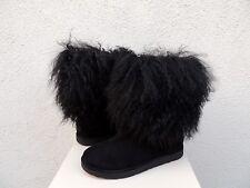 UGG BLACK LIDA TALL LONG MONGOLIAN SHEEPSKIN CUFF BOOTS, WOMEN US 7/ EUR 38 ~NEW