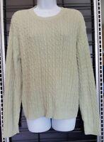 Karen Scott Womens Size XL Top Long Sleeve Lime Green 100% Cotton Knit Sweater