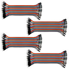 4pk 40-Wire Male-Female Jumper Wire 20cm; 40P Color Ribbon Breadboard Cable USA