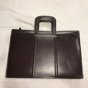 Heritage Leathergoods Leather Portfolio Briefcase, with handle, burgundy, #12032