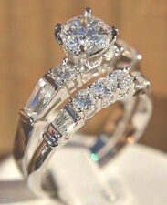 SILVER .89 CARAT SIMULATED MOISSANITE 2 RINGS SET SIZE 7