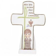 2010 Precious Moments Communion Boy Cross With Stand Figurine #104410