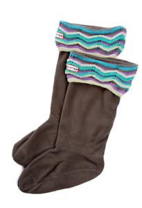Hunter Womens Zigzag Striped Cuff Fleece Welly Socks Sz M/L 0054