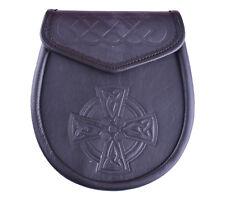Leather Sporrans, Full Celtic Design W/ Chain, Black, LI-SCO-0011