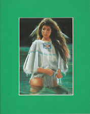 """Maiji---Indian Woman in River"""". Southwest--Native American-- Matted Art Print--"""