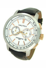 NEW NAUTICA CHRONOGRAPH LEATHER 100M MENS WATCH N19574G