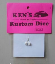 WHITE w BLACK DOTS DICE 1:24 1:25 KEN'S KUSTOM CAR MODEL ACCESSORY D1
