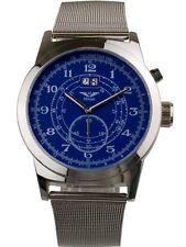 Minoir Uhren - Modell Baugy silber/blau mit Milanaiseuhrband Automatikuhr Ø 47 m