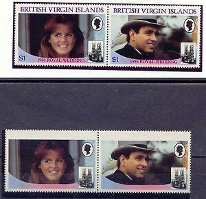 BRITISH VIRGIN ISLANDS 1986 Wedding Prince Andrew & Sarah MISSING LILAC COLOUR
