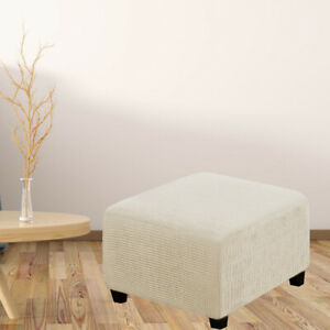 Polyester Square Ottoman Slipcover Folding Storage Footrest Cover Removable