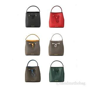 Michael Kors Suri Large Leather Bucket Crossbody Drawstring Hobo Handbag