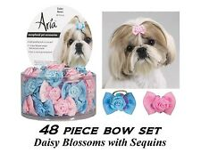 48 pc DOG Grosgrain Ribbon DAISY BLOSSOM&Sequins Pink&Blue BOWS HAIR*Top Knot
