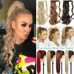 Mega Thick Clip in Ponytail Hair Extensions Extention Real Natural as Human Wavy