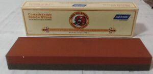"""NEW Norton IB8 1 x 2 x 8"""" Fine/Coarse India Combination Oilstone, Red"""