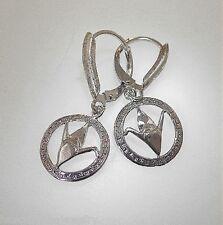12mm Hawaiian 925 Silver Sadako Peace Crane Wing Down Origami Leverback Earrings