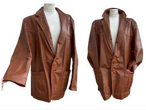 Vintage 70s Leather Jacket L 16UK Tan Blazer Coat Pleated Pockets Boho Retro