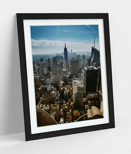 NEW YORK CITYSCAPE AERIAL -ART FRAMED POSTER PICTURE PRINT ARTWORK- PHOTOGRAPHY