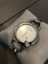 Diamond Gucci YA122505 Chiodo Silver Tone 122.5 Womens Watch SERVICED