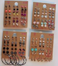 Lot of 84 Pairs of Stud Hoops and Dangle Earrings Hypo Allergenic New - lot G
