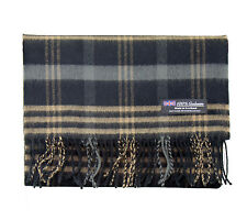 100% CASHMERE Scarf Black Camel Check Plaid Warm Graham SCOTLAND Wool Men D313