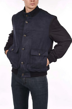 LORO PIANA Navy Suede Bomber Jacket Size 54 / XL (100% Authentic & New)
