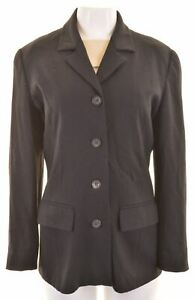 MAX & CO. Womens 4 Button Blazer Jacket UK 10 Small Black Virgin Wool LI03