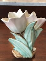 Vtg McCoy Double Tulip Vase. Beautiful!  Pink Tulips With Yellow/green Leaves