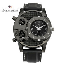 Mens Sports Black Leather Band Big Dial Oversized V8 Super Speed Wrist Watch