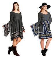 VELEZRA Womens Plus Flowy Boho Pheasant Bohemian Long Bell Sleeve Dress 1X 2X 3X