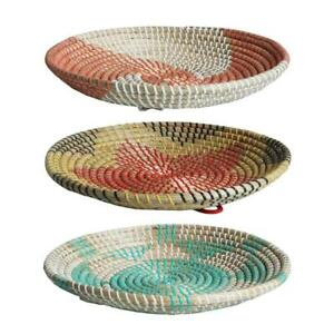 Boho Woven Wall Basket Decor Seagrass Decorative Tray Hanging Fruit Bowl Rustic