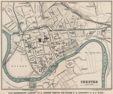 CHESTER town/city plan.  W. & A.K. Johnston 1910 old antique map chart