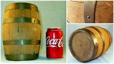 Vintage Primitive Small Wood Barrel Copper Staves Powder Keg Flask Beer Bar