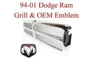 94 01 DODGE RAM 2Pc CHROME GRILL & OEM Emblem 1500 2500 3500 95 96 97 98 99 00