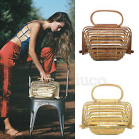 Womens Bamboo Bags Handmade Basket Nest Large Bag Hollow Tote Lantern Beach Bag