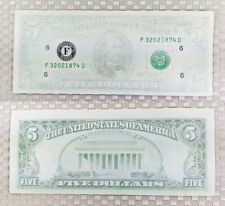 Us $5 banknote Insufficient Inking Error Missing most on second printing