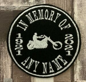ARCHED TEXT CIRCLE PERSONALISED IN MEMORY OF BIKER PATCH MOTORCYCLE RIDER SEW ON
