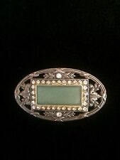 Vintage Art Deco Style Catherine Popesco Green Enamel Crystals Brooch Pin FRANCE