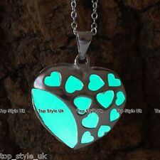 Aqua Glow in the Dark Heart Necklace Birthday Xmas Gift for daughter Mum Wife