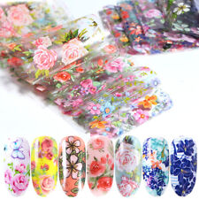 10Pcs Floral Nail Art Sticker Flowers Manicure Foil Transfer DIY Beauty Decals