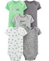 Carter's 5 pk Short Sleeve Dinosaur Bodysuits Set Boys 3 12 18 24 months NEW NWT