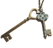 PATINA SKELETON KEY PENDANT NECKLACE Victorian steampunk heart ornate chain E6