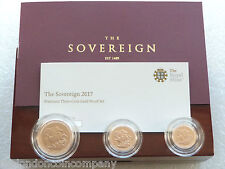 2017 Great Britain Premium Sovereign Gold Proof 3 Coin Set Box Coa - Mintage 450