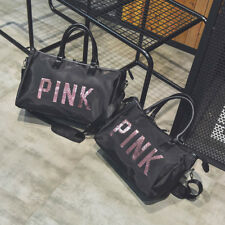 Victoria's Secret PINK Grey Canvas Duffle Bag School Holiday Gym Travel Weekend