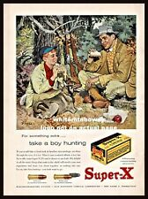1957 Western Super-X Vintage Ammunition Ad Father Son with Norwegian Elkhound