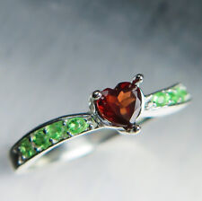 Natural Garnet Spessartine Dark Red heart & tsavorites Sterling 925 silver ring