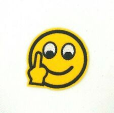 Middle Finger Emoji Patch Jacket Embroidered sew or Iron On Patches 261