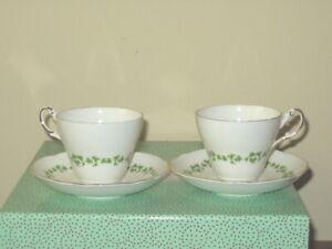 TWO Regency English Bone China - Irish Shamrock Clover - Tea Cups and Saucers