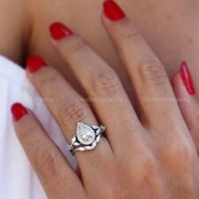 Moissanite Engagement Ring 14K White Gold Certified 3Ct Bridal Set VVS1 Pear Cut