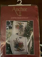 Anchor Counted Cross Stitch Kit Bluetit And Flowers Table Runner