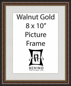 Handmade Brown Walnut Gold Wooden Picture Frame With Mount - 8 x 10''